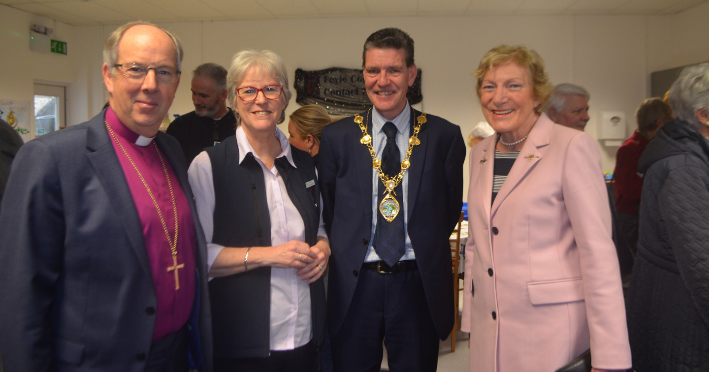 Bishop Ken Good, Mrs Mary Good, the Mayor of Derry and Strabane District,