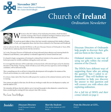 Ordination Newsletter 2017 now available