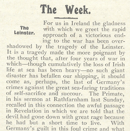 The Leinster Tragedy - Human interest stories brought to life by the 'Church of Ireland Gazette' and other sources
