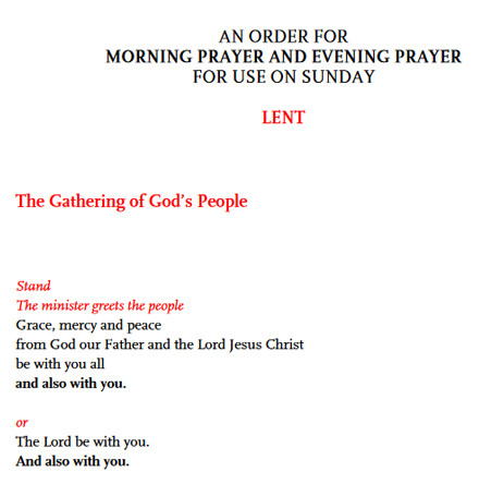 Morning and Evening Prayer for Lent