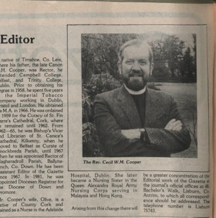 The Church of Ireland Gazette in the 1980s – 'A Borderless Church' - Further editions of the newspaper are released online