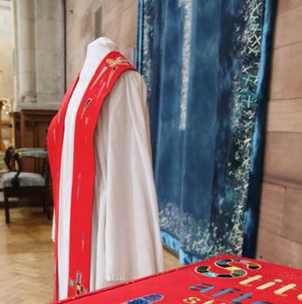 Exhibition allows closer look at linen vestments in St Anne's Cathedral, Belfast