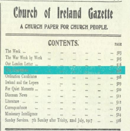 """Good Wishes for the Great Adventure"": The Church of Ireland & the Irish Convention, 1917"