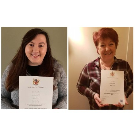 Degrees of excellence for Karen and Christina!