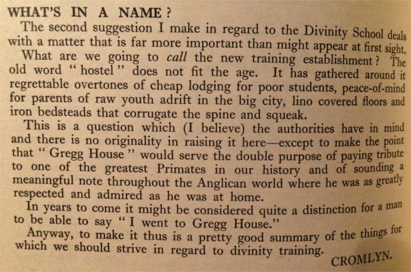What's in a name? Cromlyn queries the name of the new Divinity Hostel, 20 September 1969 The Frances Condell Column, 22 August 1969