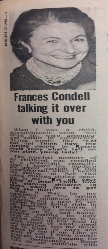 The Frances Condell Column, 22 August 1969