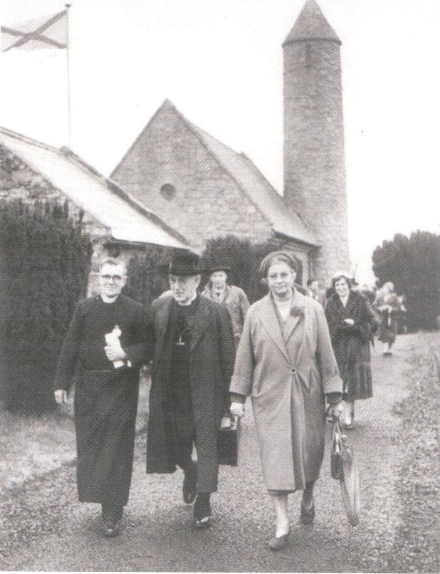 Saul, Downpatrick, on St Patrick's Day, 1960, shows the rector Canon H.C. Marshall, the Archbishop of Canterbury and Lady Fisher, with Mrs Dorothy Walker, wife of former rector Leslie Walker, in the background