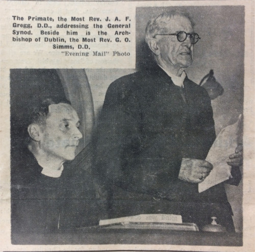 The aging primate and Archbishop of Armagh, John Gregg, alongside the youthful Archbishop of Dublin, George Otto Simms, at the General Synod in May 1957