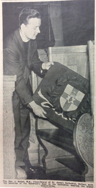 The installation of the Governor's Seat in St Anne's Cathedral, Belfast, as featured in the edition of 19 July 1957