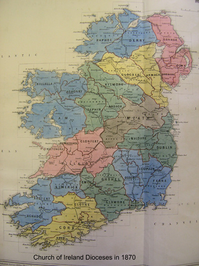 19th Century map of the Dioceses of Ireland
