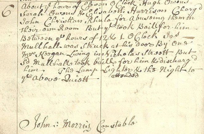 Event log for the night of the 30 Oct. 1765
