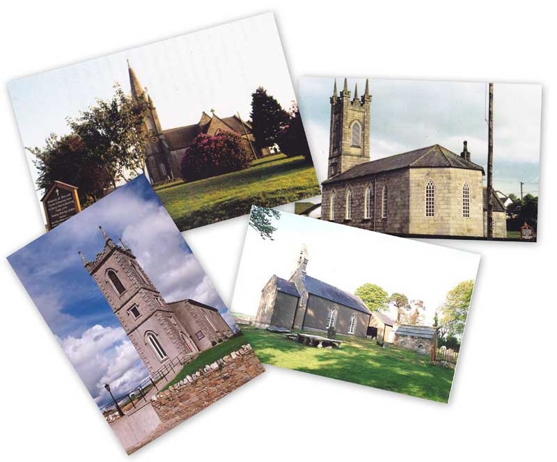 A collage of images of the four churches in Bunclody Union