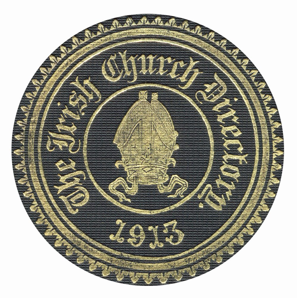 Front cover stamp featuring episcopal mitre symbol