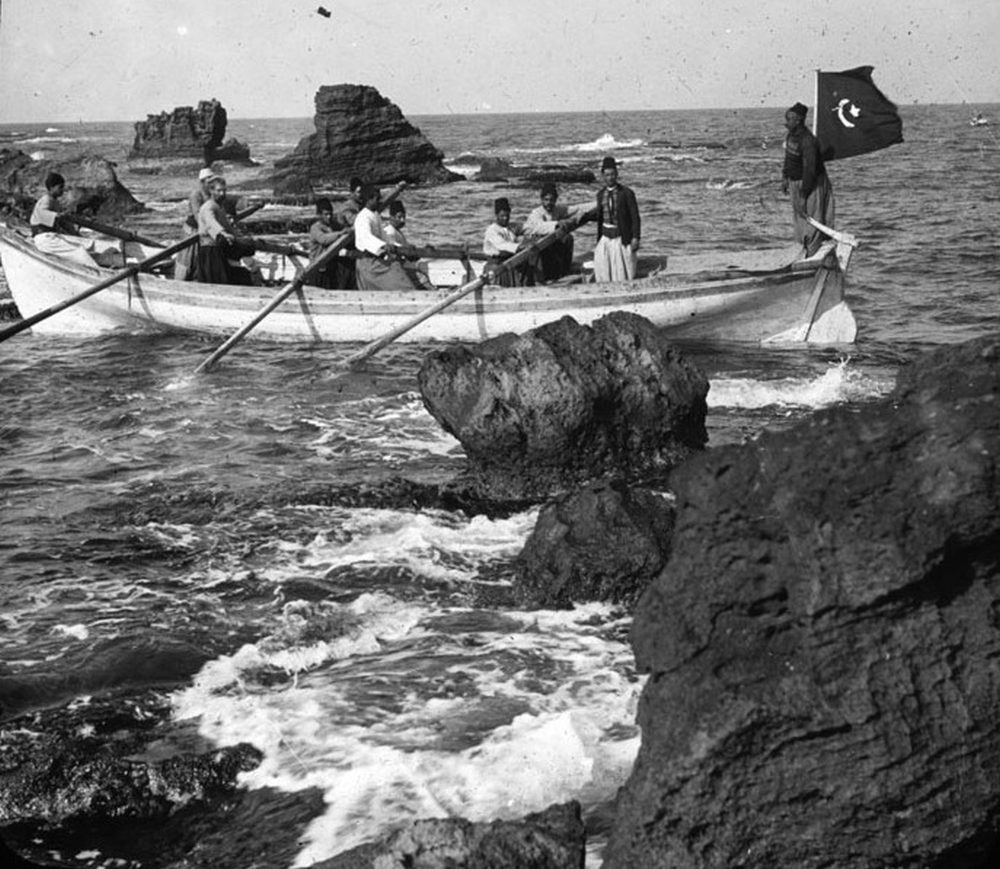 "'Boat going through the rocks', with Turkish flag flying, RCB Library ""Killaloe"" LS/Palestine 1"