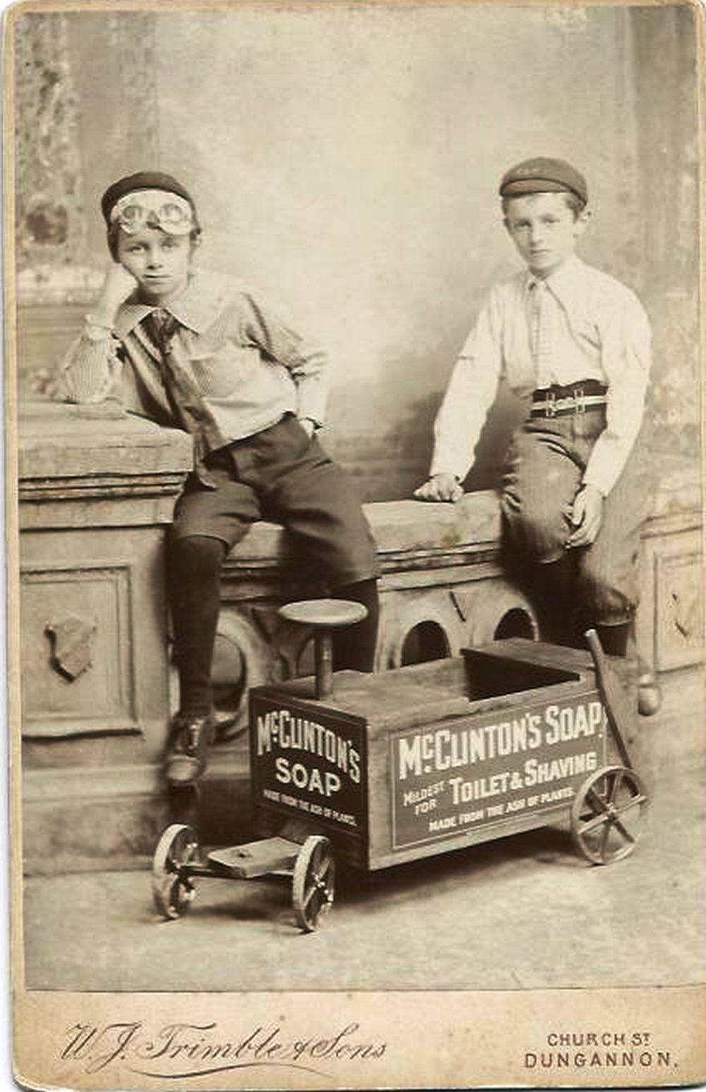 Lawrence and Robert Wilson, sons of the late Revd William Wilson, and nephews of David Brown, who featured in advertising cards for McClinton's soaps, arising from the display at the International Exhibition in 1907, courtesy of Donaghmore Historical Society.