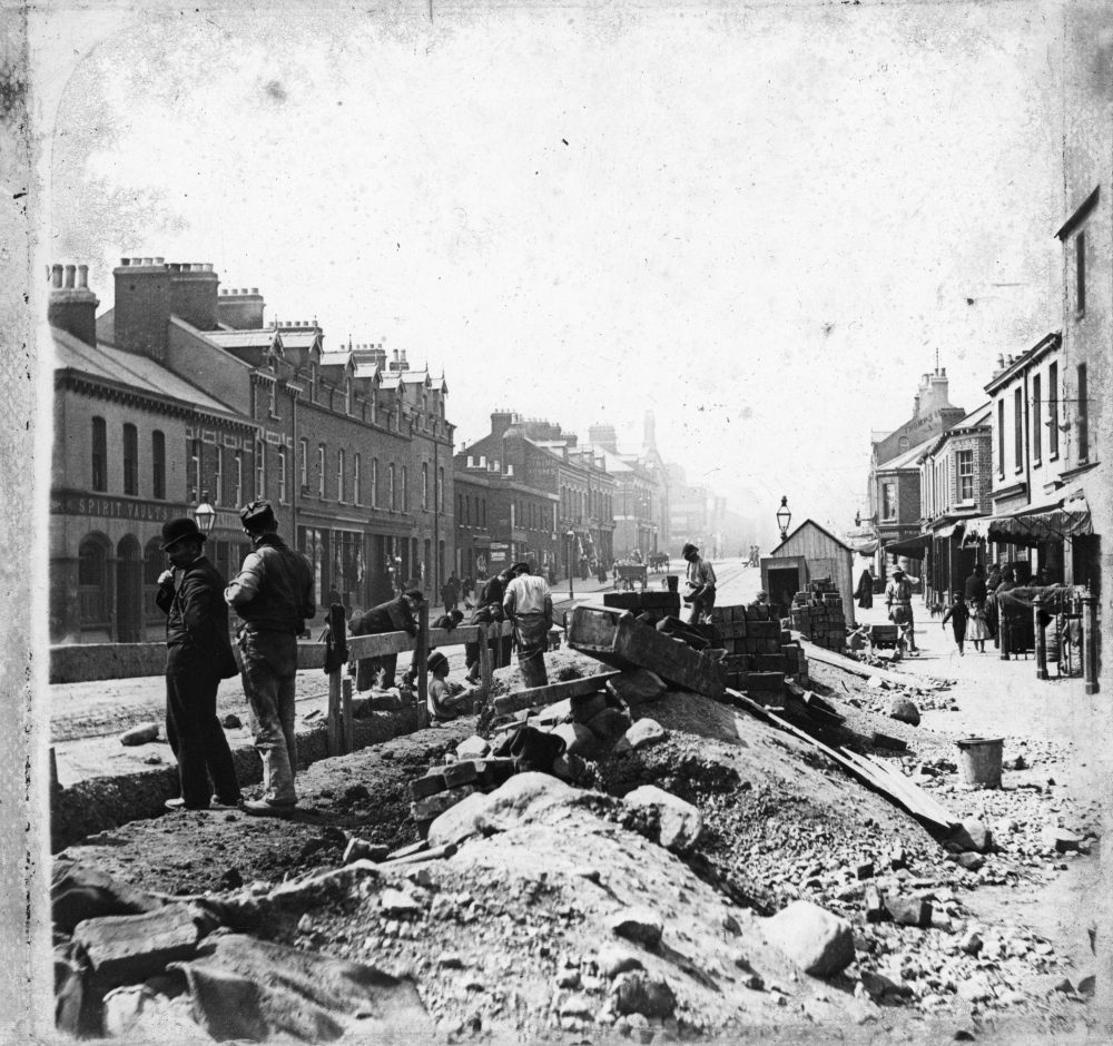 "Road building in a large urban area, as yet unidentified, RCB Library ""Killaloe"" LS/Places 2."
