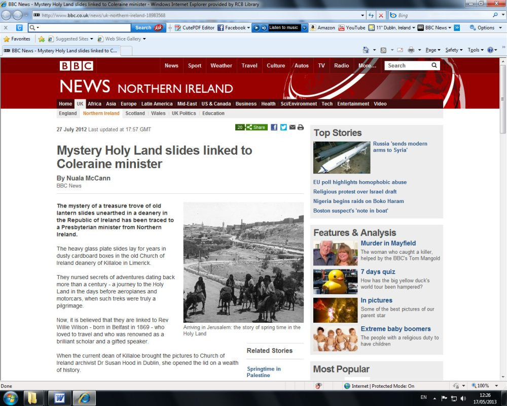 Screen shot of the BBC website feature on our initial presentation, June 2012. 'Mystery Holy Land slides linked to Coleraine minister':