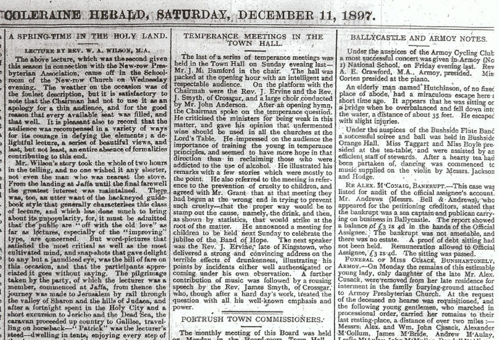 Coleraine Herald, Saturday 11 December 1897. Courtesy of Coleraine Public Library.