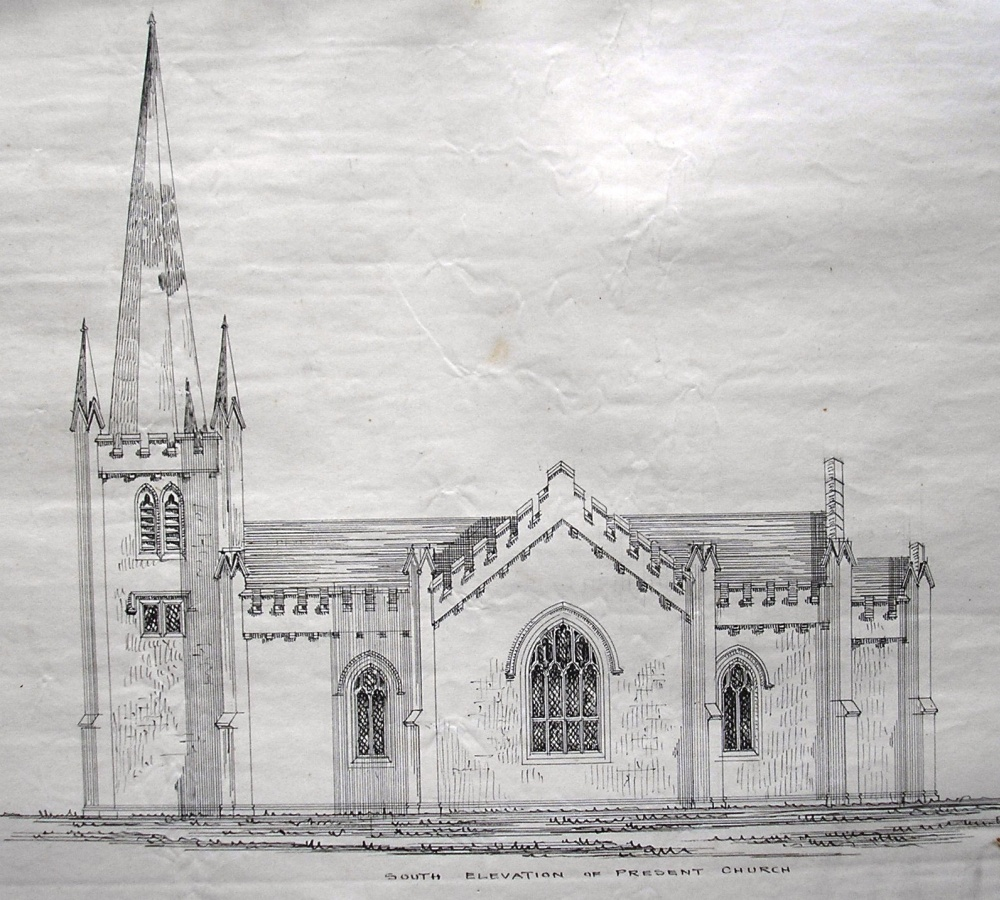 Mid–19th century elevation of Derryloran parish church, as designed by John Nash, and surveyed by Joseph Welland, Principal Architect of the Irish Ecclesiastical Commissioners, from a collection of Welland's architectural drawings, RCB Library MS 139/3.