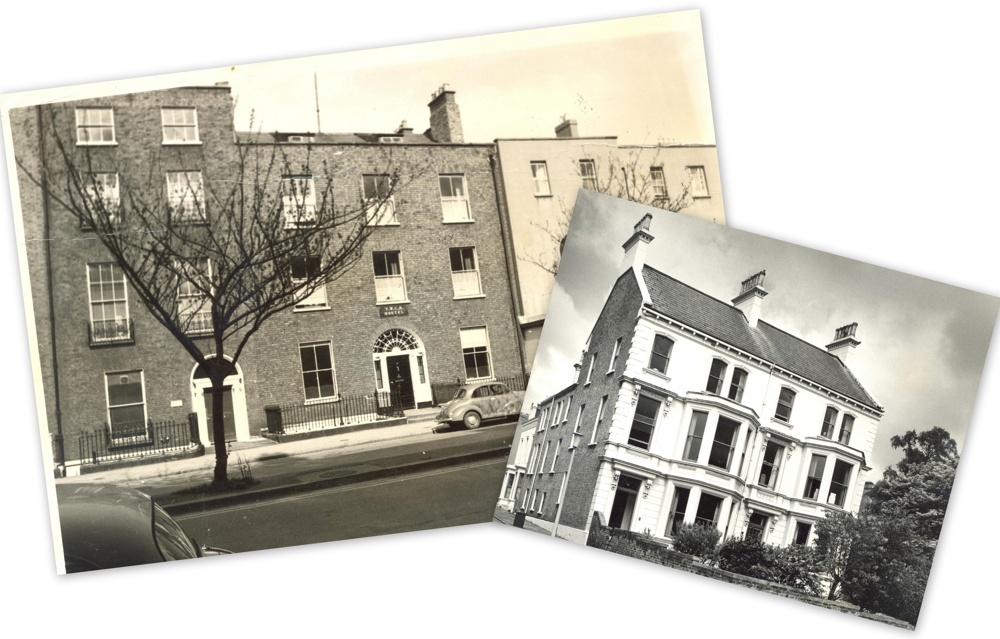 Baggot Street Hostel in the early 1960s, and Queen Mary's House, Fitzwilliam Street Belfast. Images from album of photographs RCB Library Ms 624/11.9