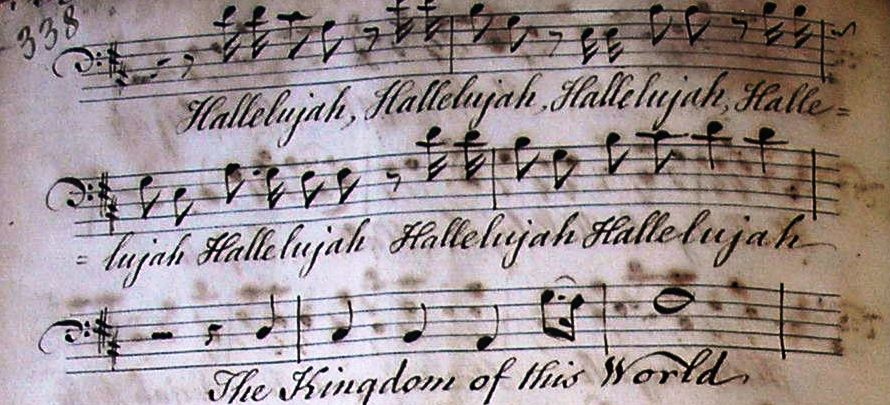 Detail from the Hallelujah chorus, part book of Christ Church cathedral (RCB Library C6.1.24.3.6).