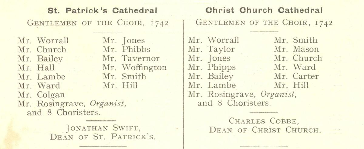 The named men members of the choirs of both cathedrals who performed the first Messiah in April 1742, together with unnamed choristers (RCB Library C2.7.5).