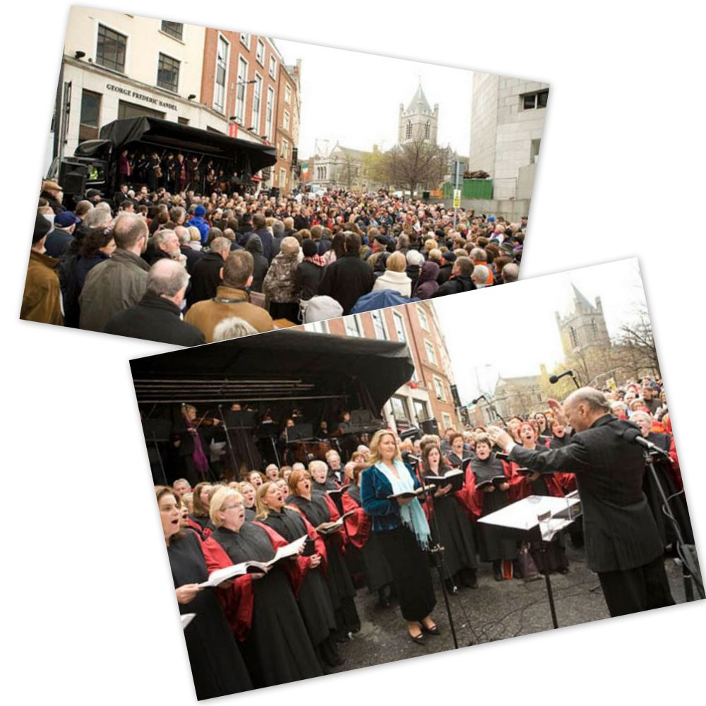 A collage of Our Lady's Choral Society images from the Messiah performance in April 2008.  Images courtesy OLCS and Fionn McCann