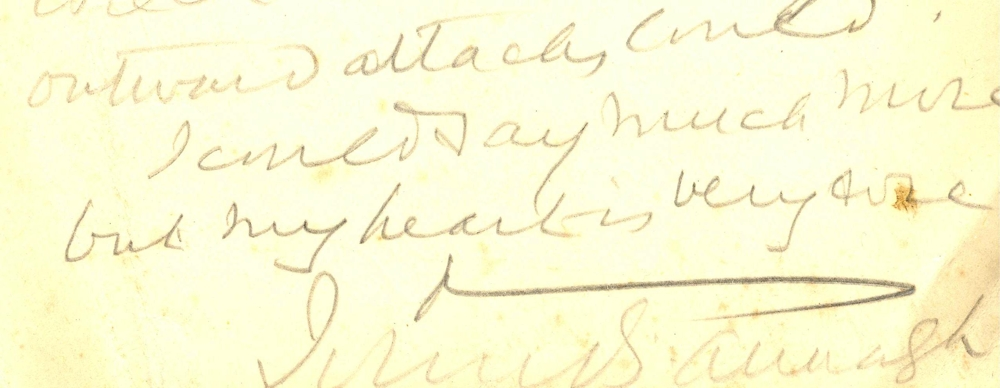 Detail from hastily written 'pencil line from the train' by John B. Armagh [Most Revd John Baptist Crozier, Archbishop of Armagh 1911-20] 16 January 1917, RCB Library MS 813/2/1/9