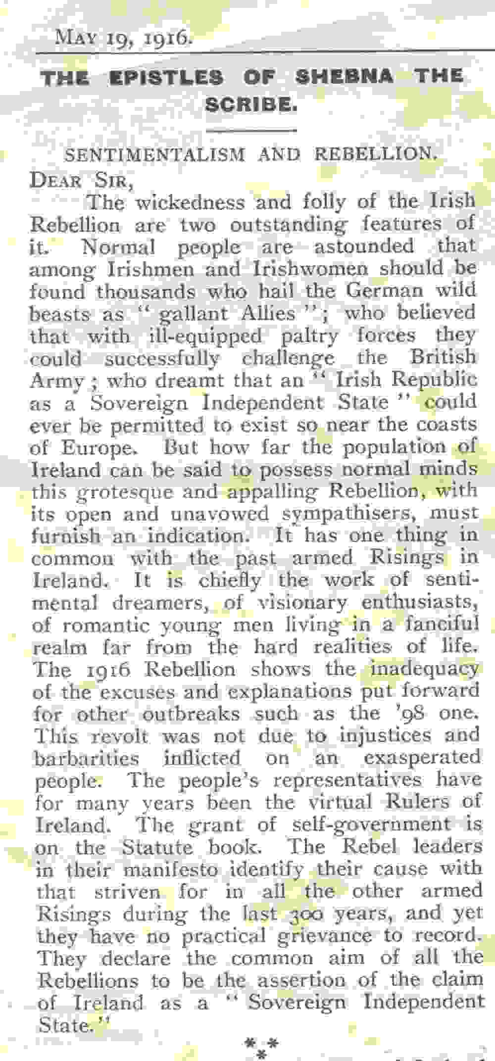 'Sentimentalism and Rebellion', being the Epistle of Shebna the Scribe, as published in the Church of Ireland Gazette, 19 May 1916, RCB Library MS 813/4/3.