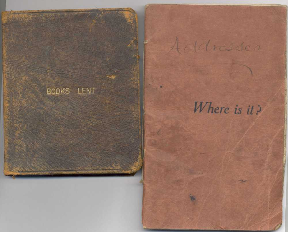 Books lent and address book covers, RCB Library MS 813/11/2&3.