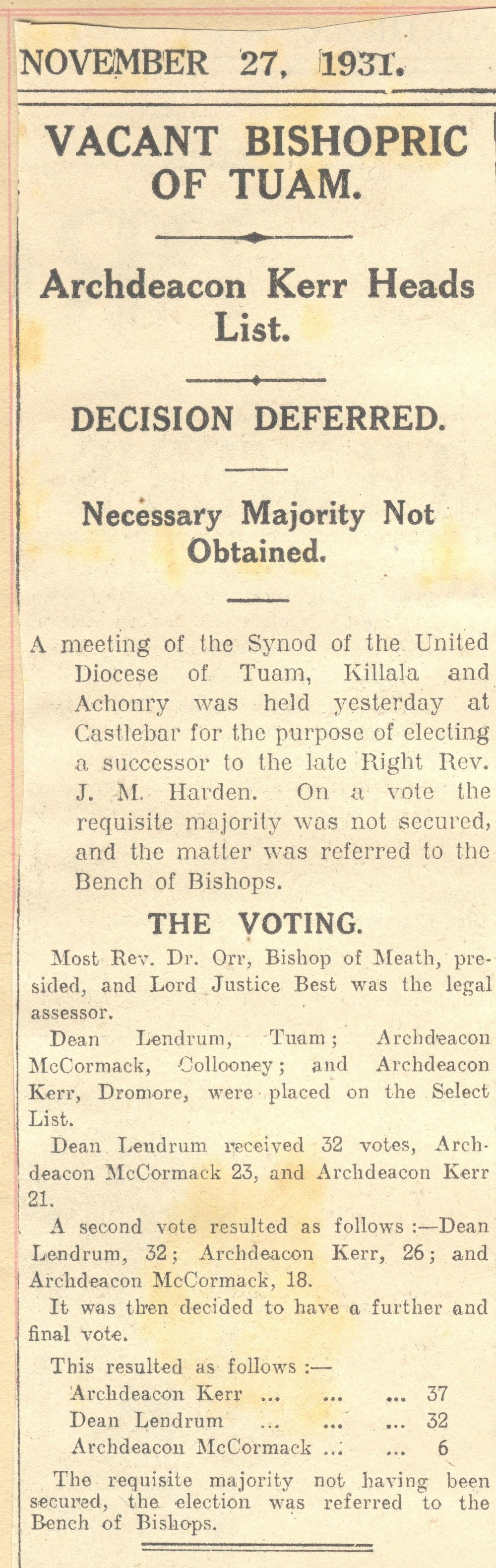 Scrapbook recording press report of voting in the 'vacant bishopric       of Tuam', 27 November 1931, RCB Library MS 813/7/5.