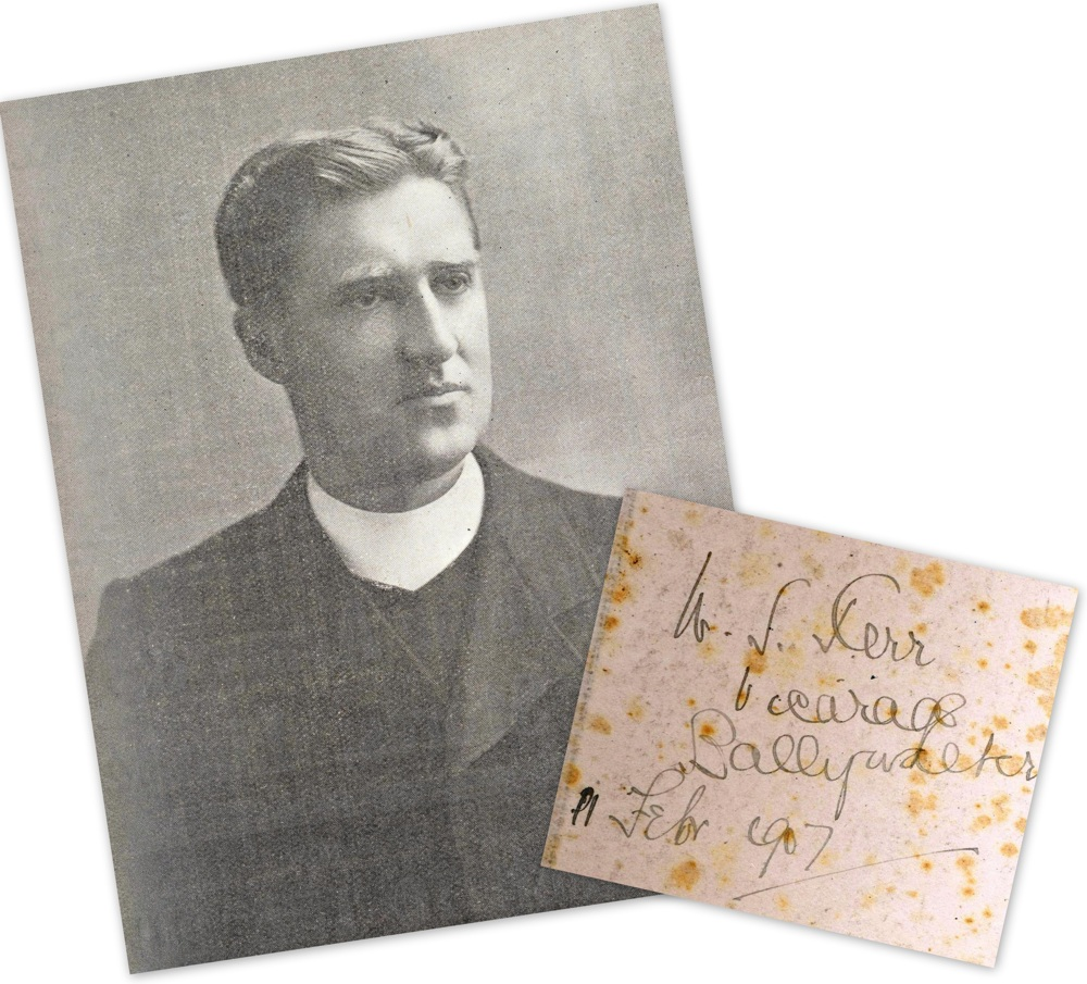 Revd William Shaw Kerr, photograph from the Church of Ireland Gazette, 1915, with title page from one of his sermon registers when rector of Ballywalter, February 1907, RCB Library MS 813/1/1.