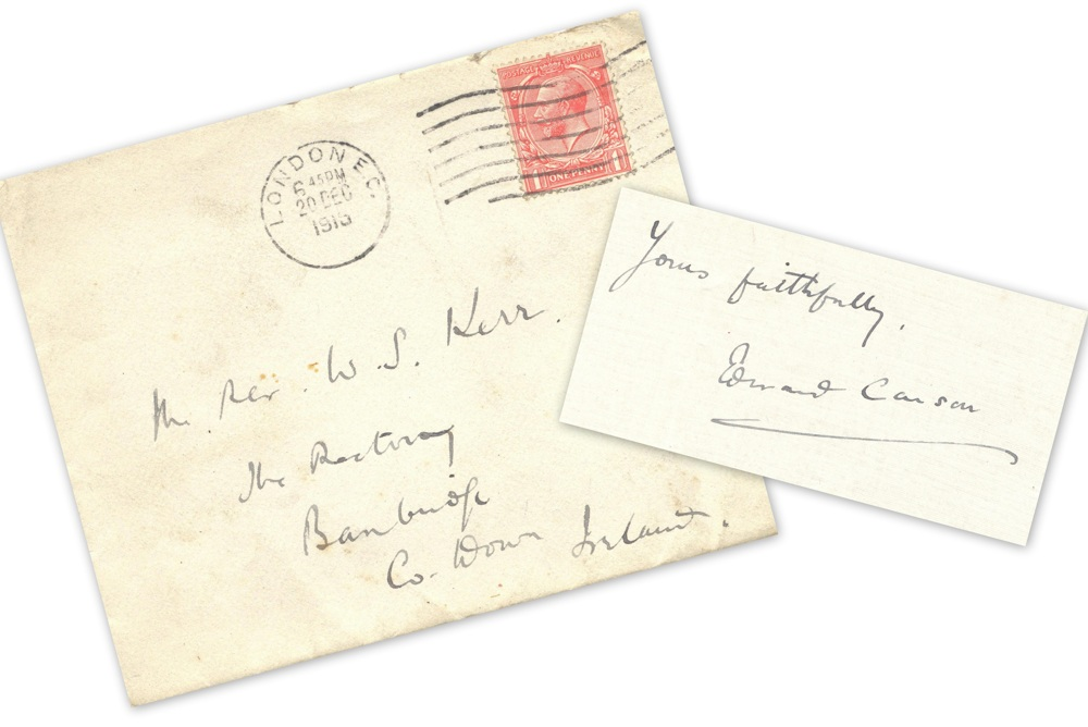 Accompanying envelope and signature to letter from Edward   Carson, 5 Eaton Place, London S.W. to 'Dear Mr Kerr', 19 December 1915, RCB Library MS 813/2/1/3.