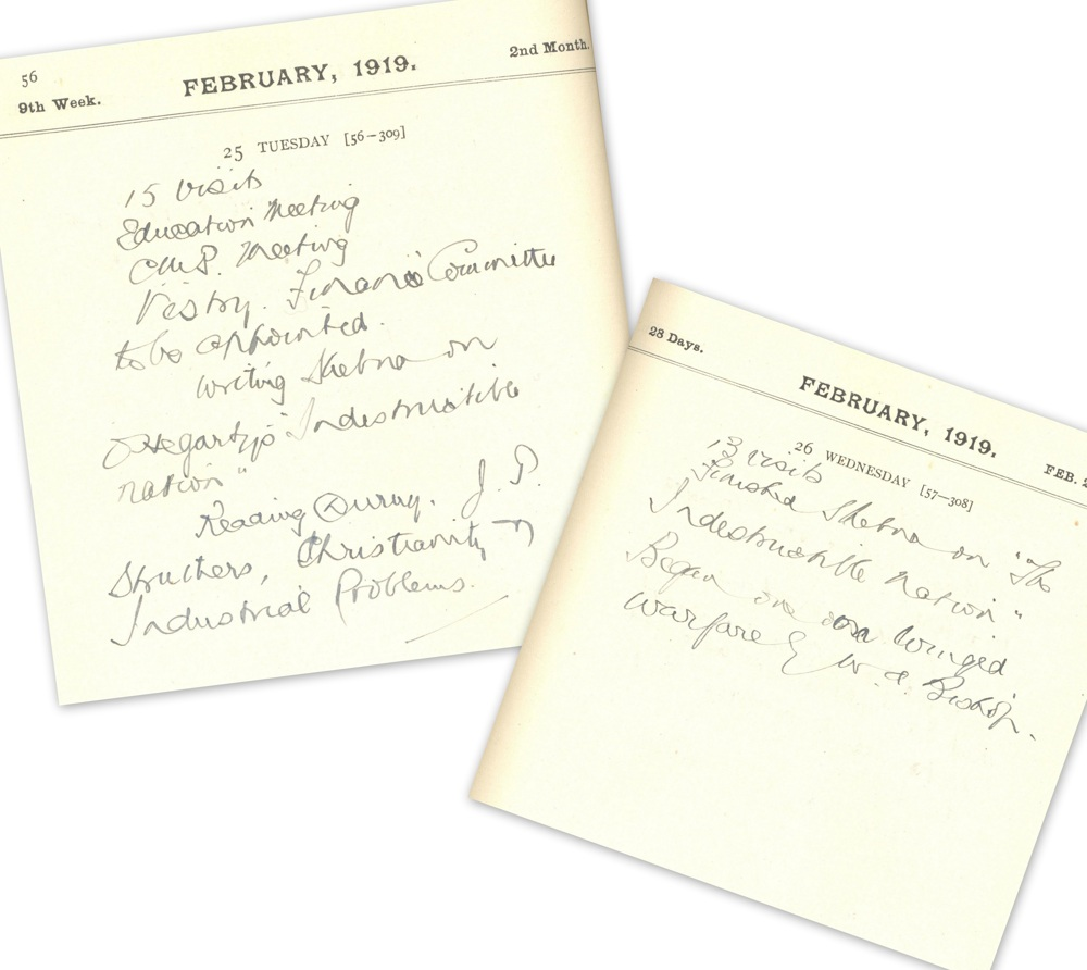 Diary entries in February 1919, which record amongst other things the volume of Kerr's visiting, RCB Library MS 813/3/4.