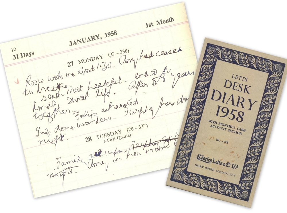 Diary entry for 27 January 1958, and cover of diary for 1958, RCB Library MS 813/3/7.