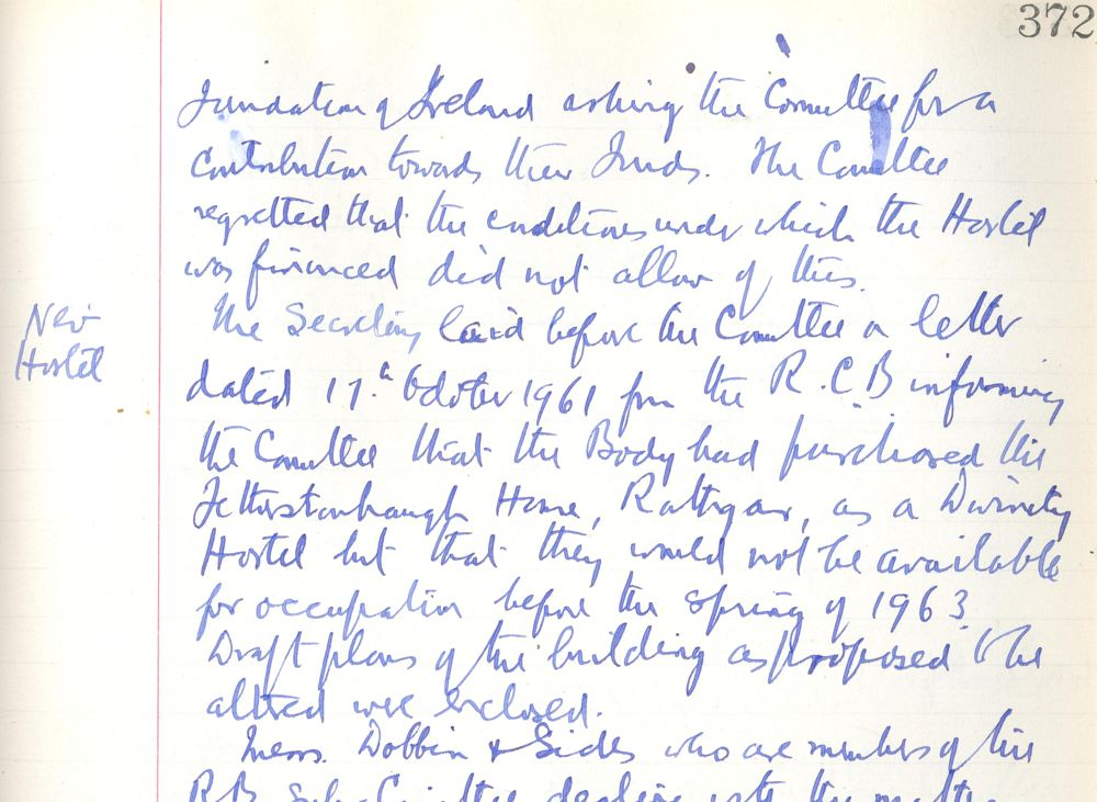 Minute recording the RCB's purchase of the Breamor Park, site, October 1963, in RCB Library, Divinity Hostel Minute Book no.1, 1913-63.