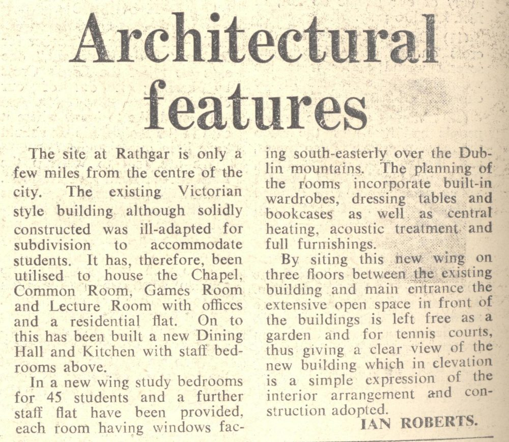 Report on the architectural features of the premises, by Ian Roberts, Architect, Church of Ireland Gazette, 21 February 1964