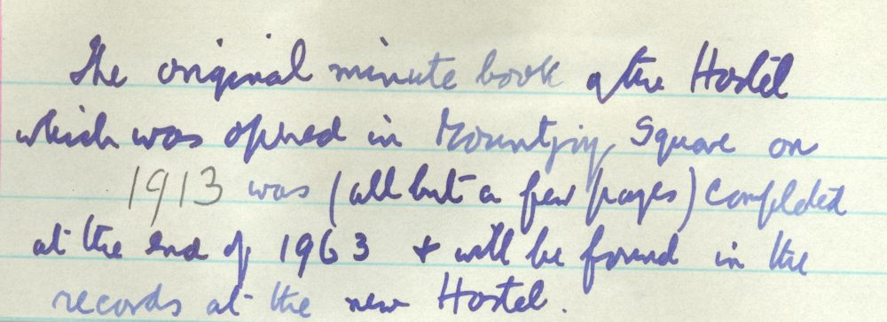 Detail of opening note in RCB Library, Divinity Hostel Minute Book no. 2, 1964-2000
