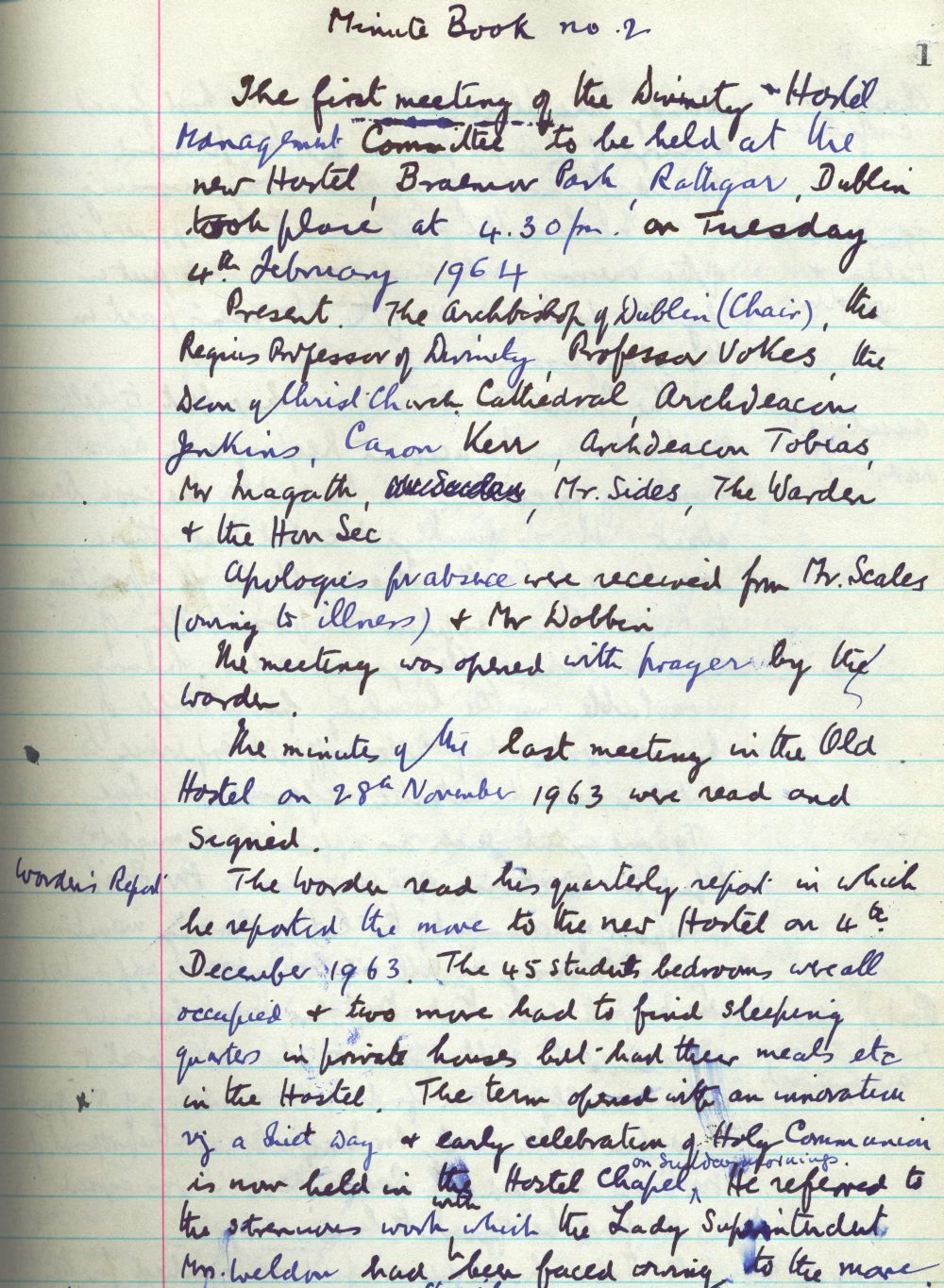 Opening minute of the Management Committee held at the new hostel, 4 February 1964, in RCB Library, Divinity Hostel Minute Book no. 2, 1964-2000