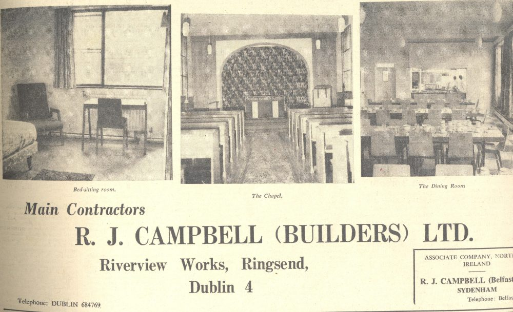 Advertisement of R.J. Campbell (Builders) Ltd featuring internal images of the new hostel building, Church of Ireland Gazette, 21 February 1964