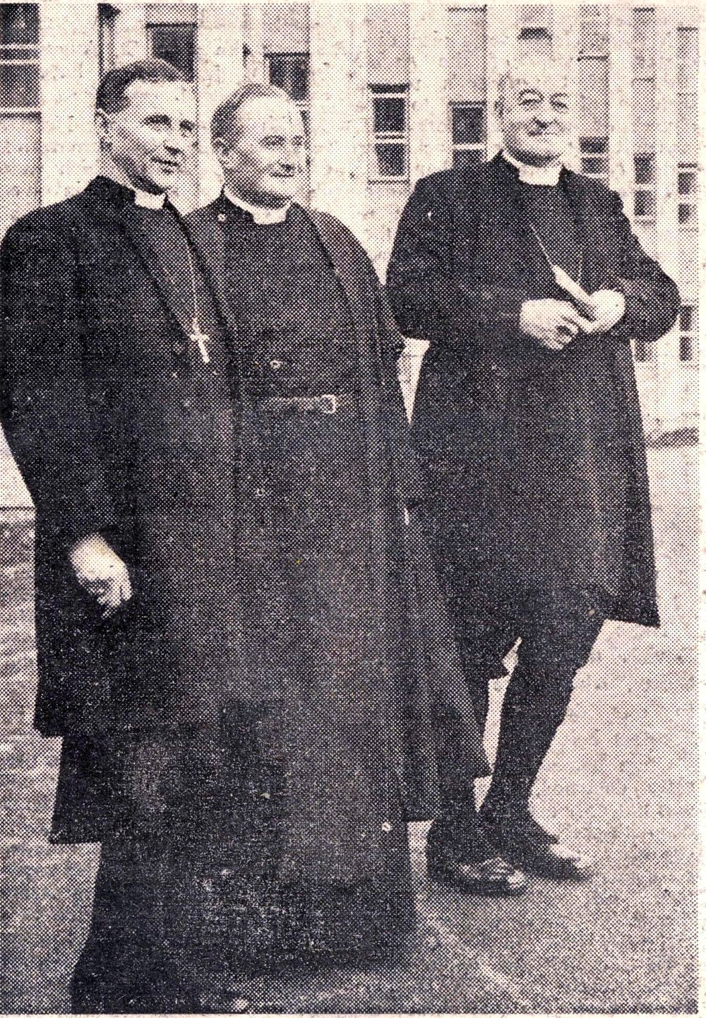 Most Revd G.O. Simms, Archbishop of Dublin, Revd John Brown, Warden of the Hostel, and the Most Revd J. McCann, Archbishop of Armagh at the opening, Church of Ireland Gazette, 21 February 1964