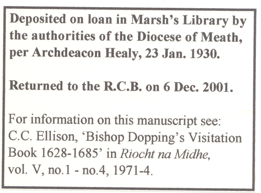 Conservation note on the Dopping visitation which was returned to the RCB Library in 2001