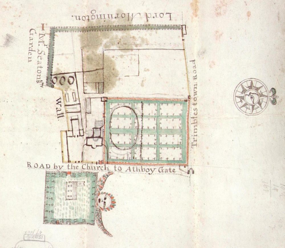 A plan of Trim parsonage, drawn by Patrick McDonnell, surveyed, 2 July, 1747, RCB Library D7/6/2