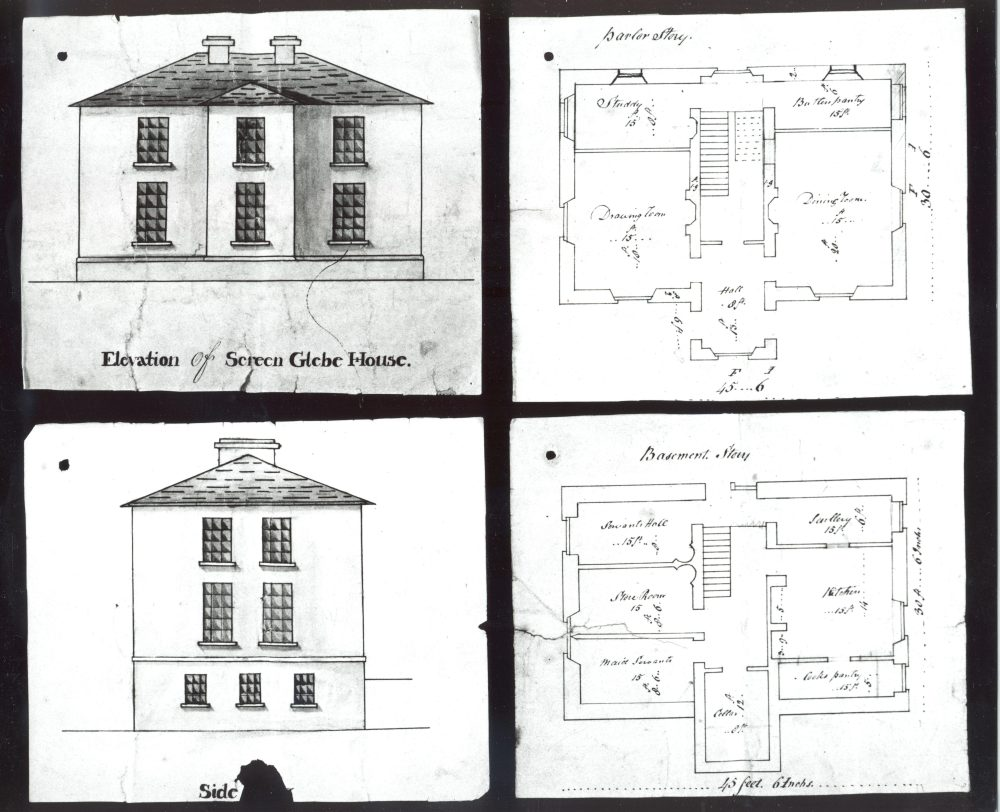 Plans of the rectory at Skyrne parish, c. 1816, RCB Library D7/10/41
