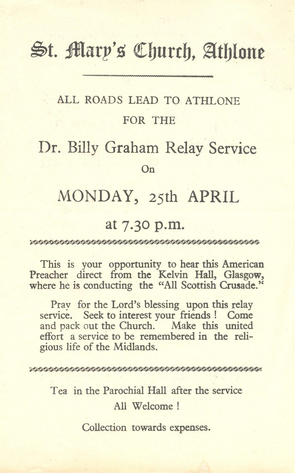 Flier advertising film showing the Billy Graham crusade in Glasgow, 1955, RCB Library D7/10/3