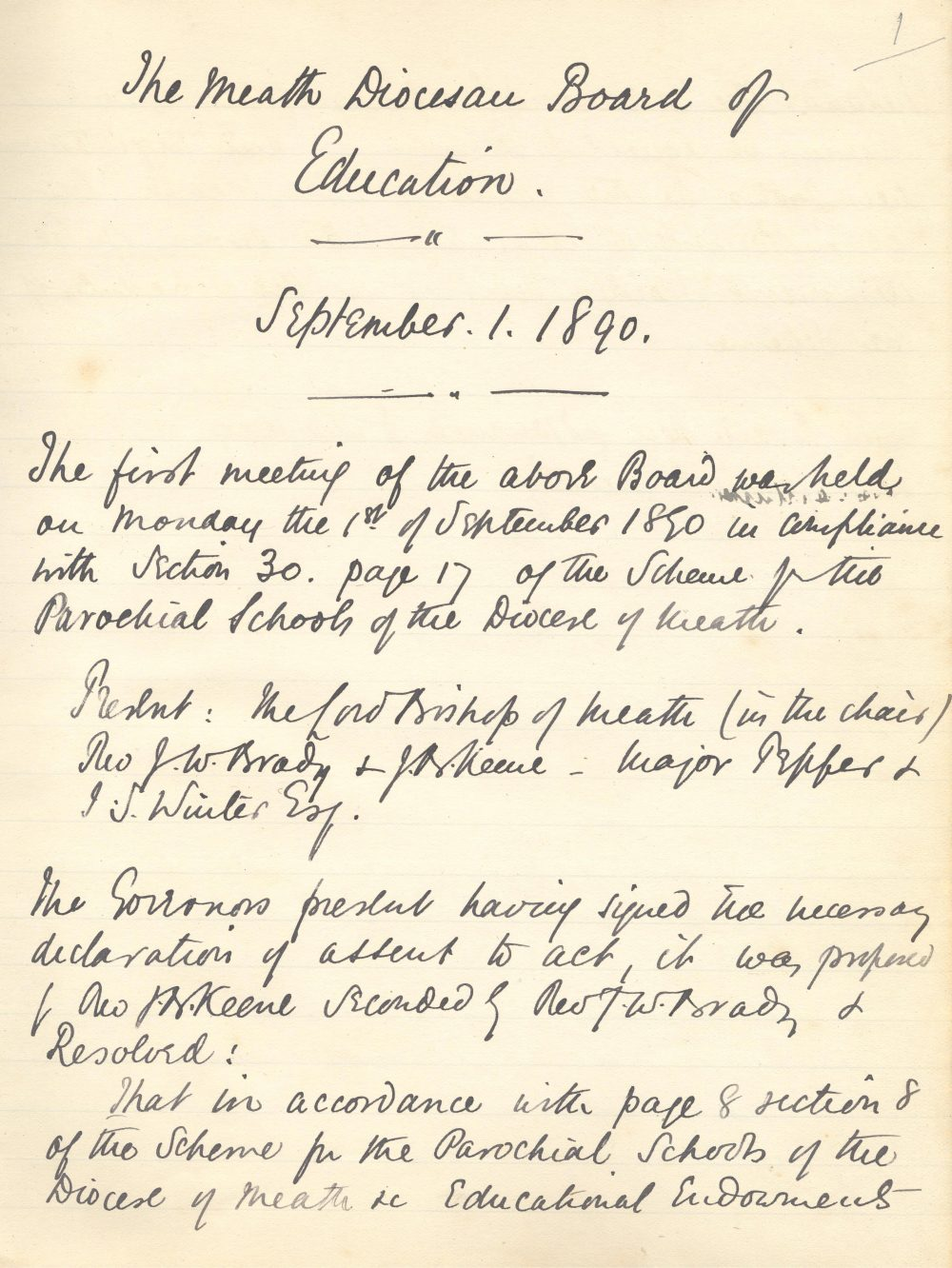 Minute book of the Meath Diocesan Board of Education, commencing in 1890, RCB Library D7/13/1/1