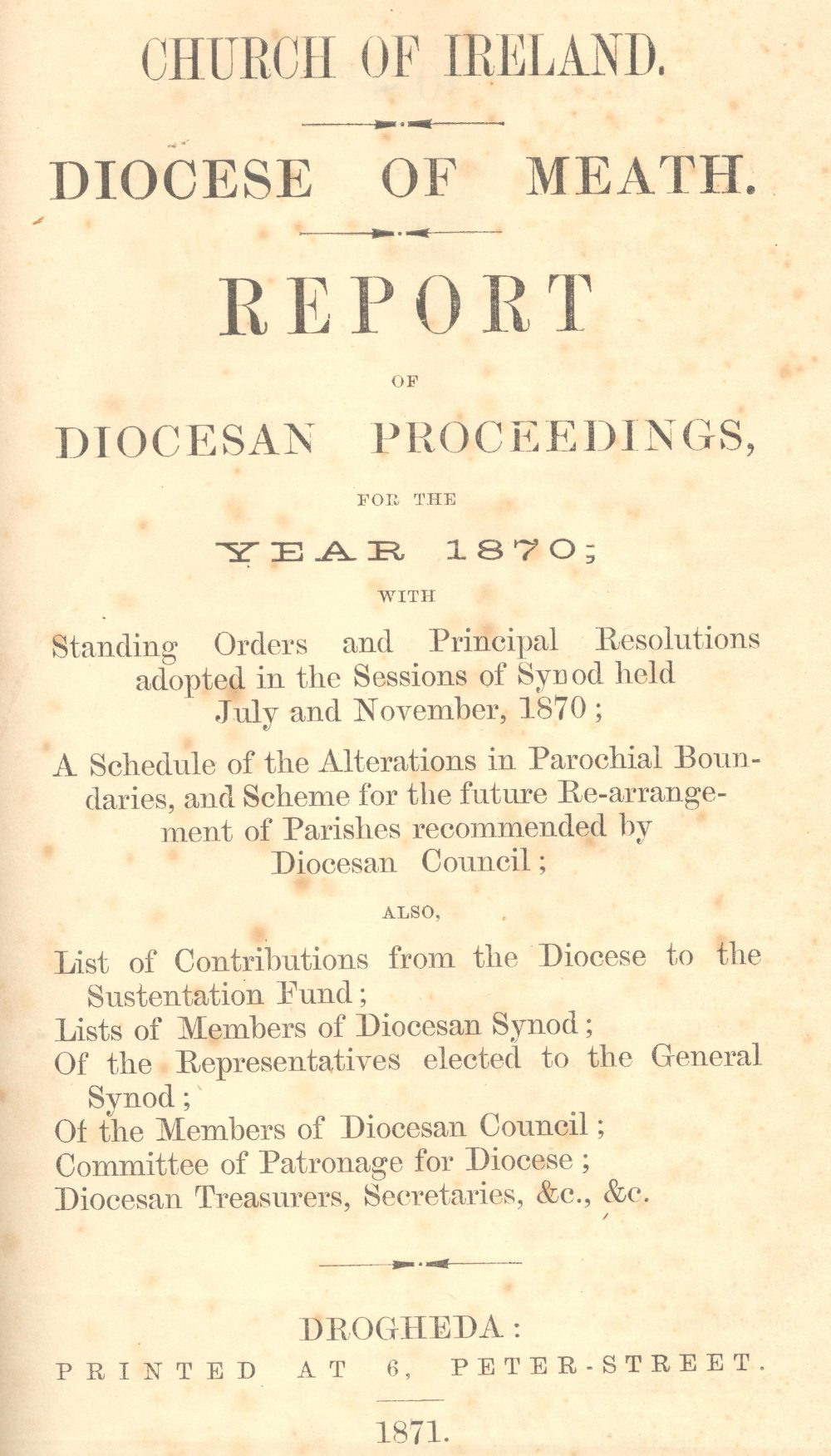 Report of the Meath Diocesan Council for the year 1870, RCB Library  D7/5/9/1