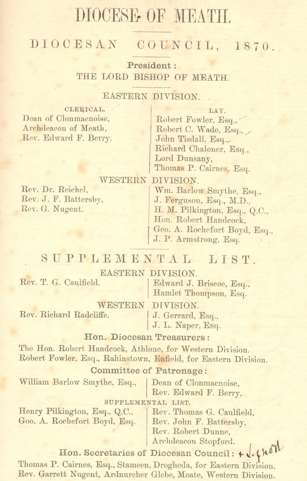Members of the Diocesan Council in 1870 from RCB Library D7/5/5/9/1