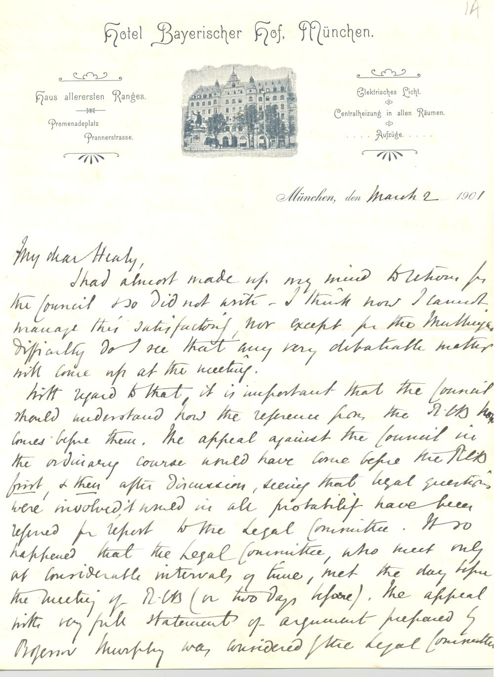 Letter from the Most Revd James Bennet Keane, Munich to Revd John Healy, keeping in touch with diocesan business, 2 March 1901, RCB Library D7/19/1/5/1