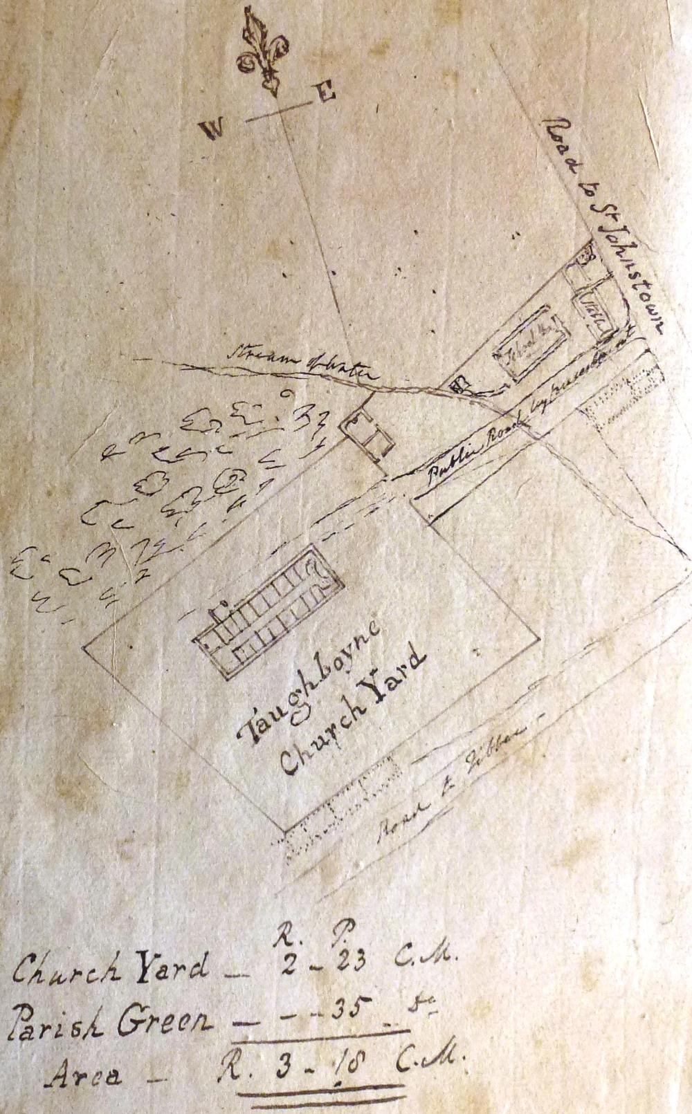 1.	Plan of Taughboyne parish church and church yard in its local context, c. 1808, from the parish vestry minute book, RCB Library P1091.5.1